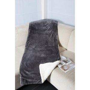 COUVERTURE - PLAID Plaid microfibre Faux Mouton 150x200 cm gris souri