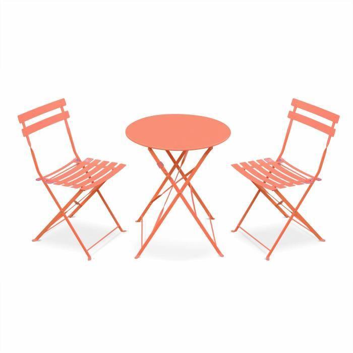 Salon de jardin bistrot pliable - Emilia rond pêche - Table ronde ...