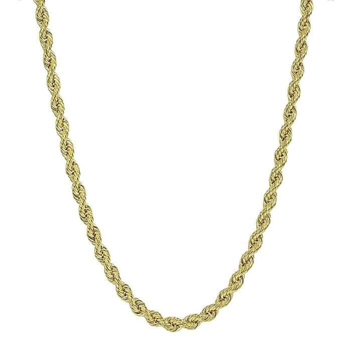 Womens 14k Yellow Gold 2.5mm Hollow Twist Rope Chain Bracelet Or Necklace For AndLGZHQ