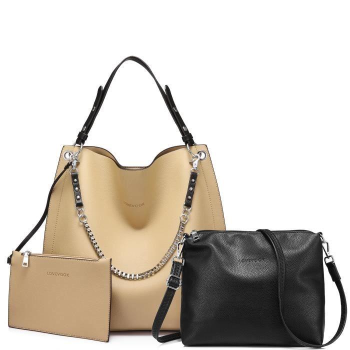 Sacs à main fourre-tout sac pour sac à main Set Sac à bandoulière Sac dembrayage 3 Pièces grande capacité AQSYF