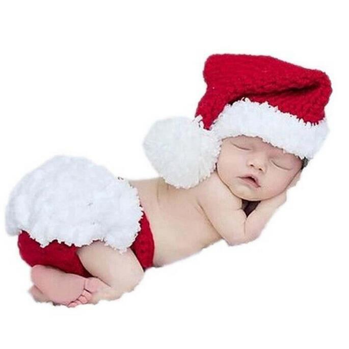 103087604f249 Nouveau-né Vêtements Costumes de Christmas Père Noël pour Bébé Photographie  - pour Enfant Unisexe de 3 à 6 Mois
