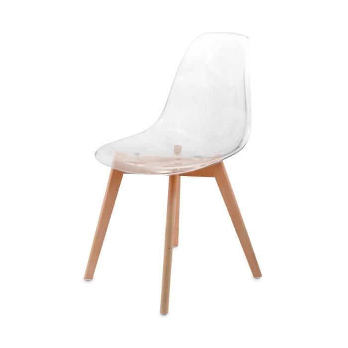 Chaise transparente scandinave gasoline avec pieds en bois for Chaise transparente pied en bois