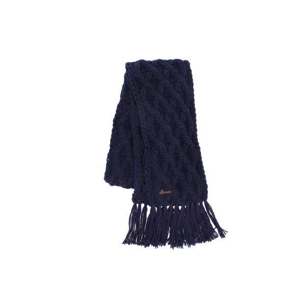 bb2209fa9dff Echarpe marine en laine torsades et franges Herman - Bleu - Taille unique