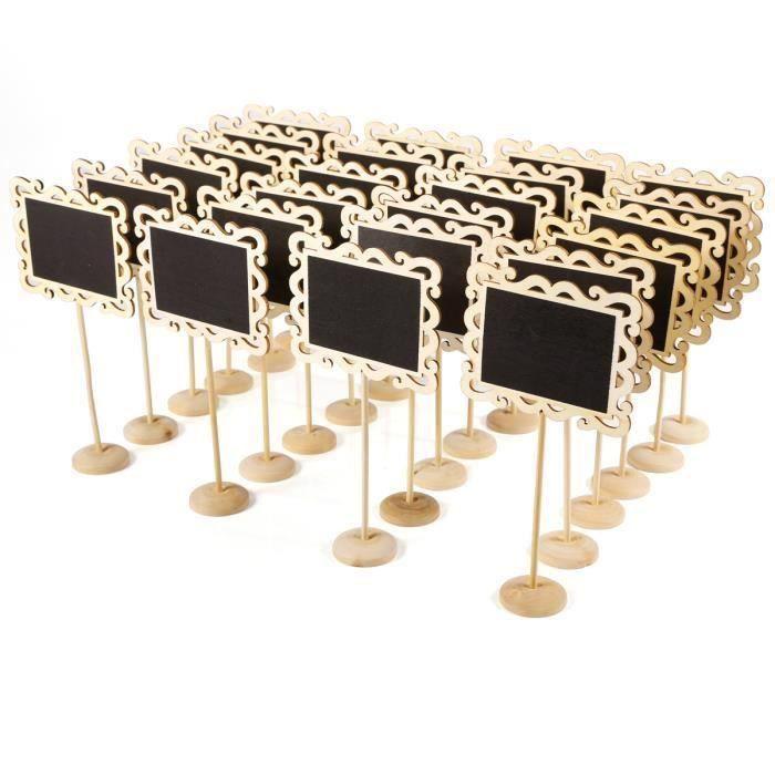 MARQUE-PLACE  Mini Tableau noir 24pcs panneau message memo avec