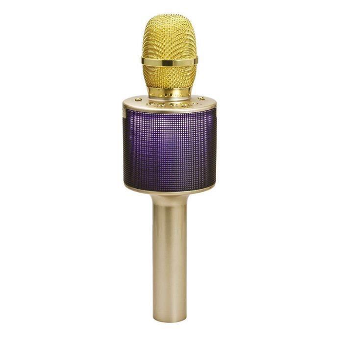 L666 Microphone Karaoke Sans Fil , Musique À Main Bluetooth Compatible Pour Iphone Android - D'or