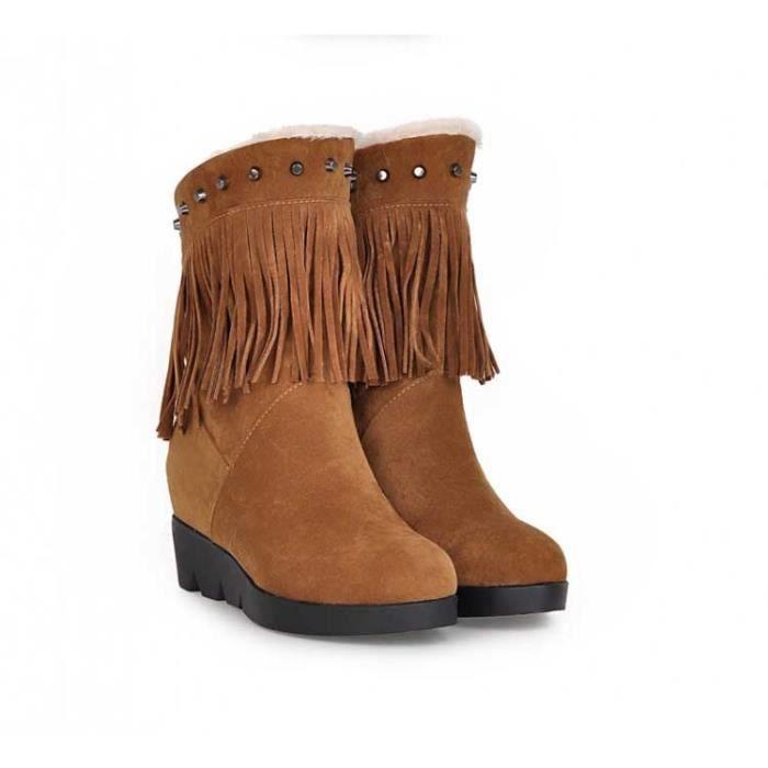 Bottes brunes veloutées à talon pente et à frange pour Femme mkiJeaE1iG