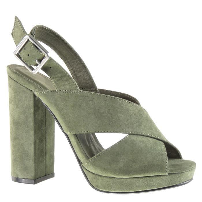 Angkorly - Chaussure Mode Sandale Mule plateforme ouverte femme lanière  boucle Talon haut bloc 12 CM - Vert - JM-99 T 41 944a7e81a523