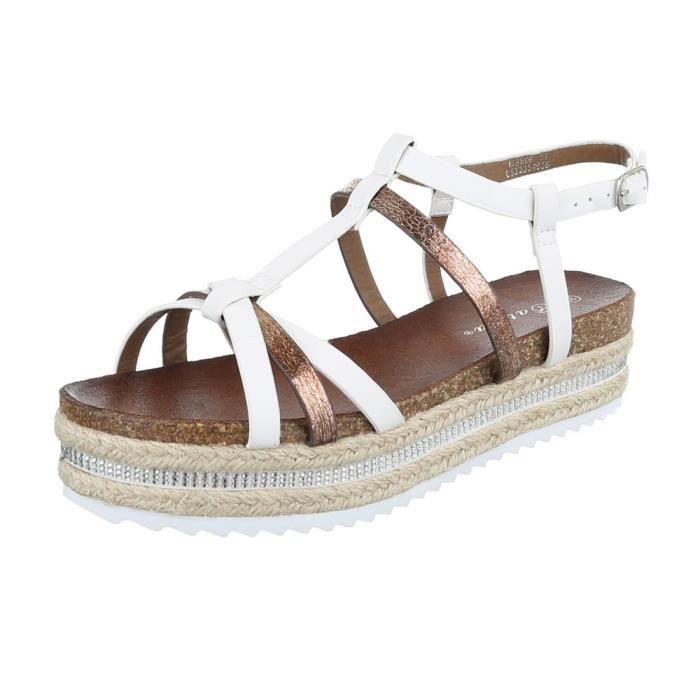 femme sandale chaussure chaussures d'été chaussures de plage Plateau Strappy marron
