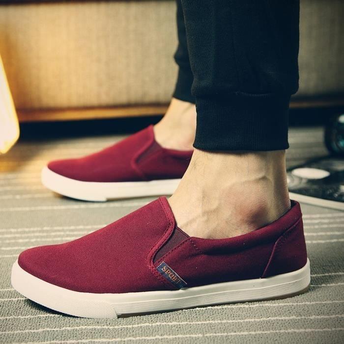 Printemps Automne Chaussures de toile chaussures plates Mocassins confortables simples Chaussures Hommes Respirant Occasionnels SDhGVwv