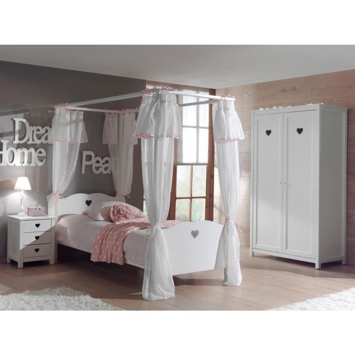 Agreable Chambre Enfant Lit Baldaquin En Bois Blanc 90x200 Hélène   Achat / Vente  Chambre Complète Chambre Enfant Lit Baldaquiu2026   Cdiscount