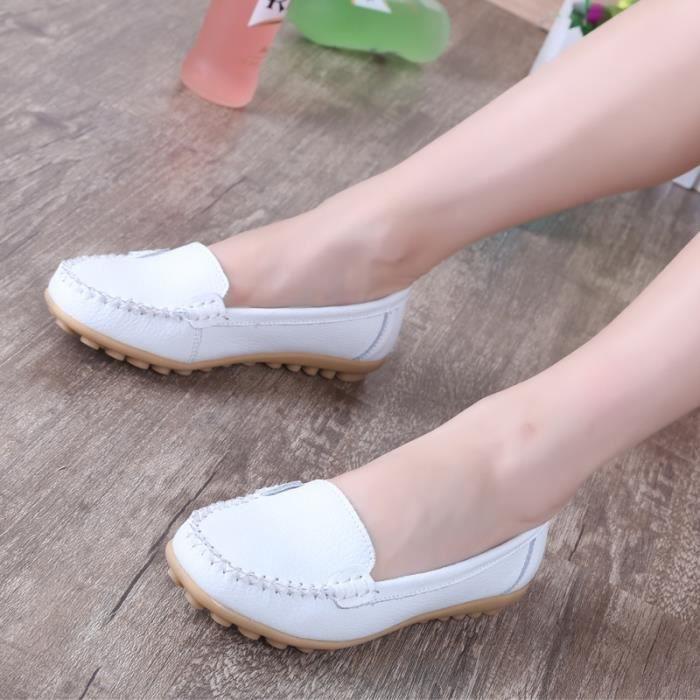 Chaussures Femme en cuir véritable Femmes Chaussures Plates Mocassins Enfilez Chaussures plates de la femme Mocassins,marron,6.5