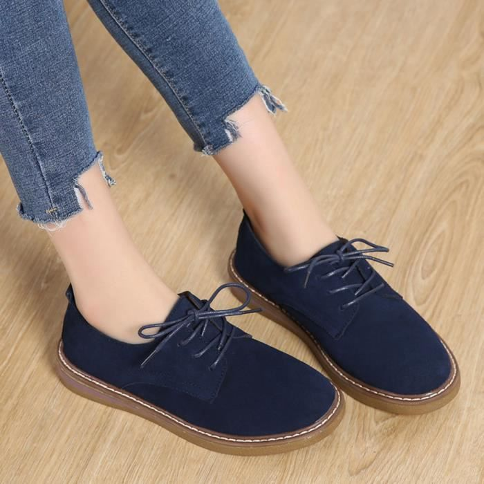 Toe Shoe Shoes Lace Suede Flats Oxford Sneakers Femmes Round Boat Leather Up Bleu 8xvvOw