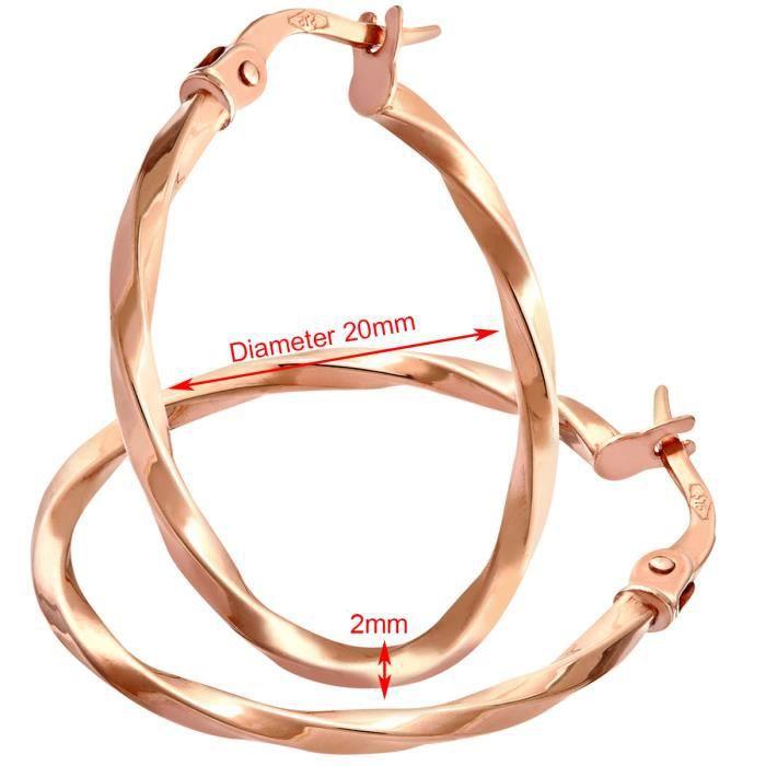 Revoni - Boucles doreilles anneaux carrés torsadés avec tube en or rose 9 carats, diamètre 2 cm