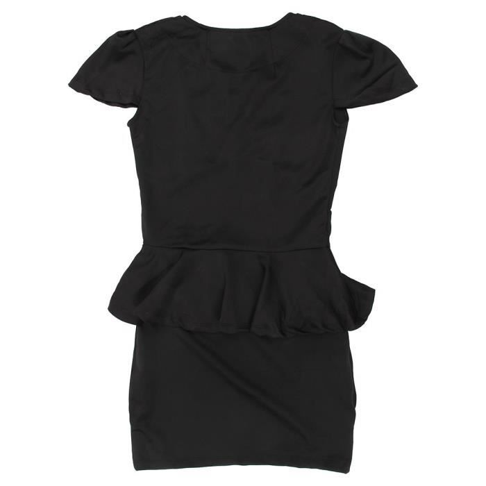 Robe sexy et a la mode du style de OL Peplum fete du col en U pour les femmes a Couleur: noire--L