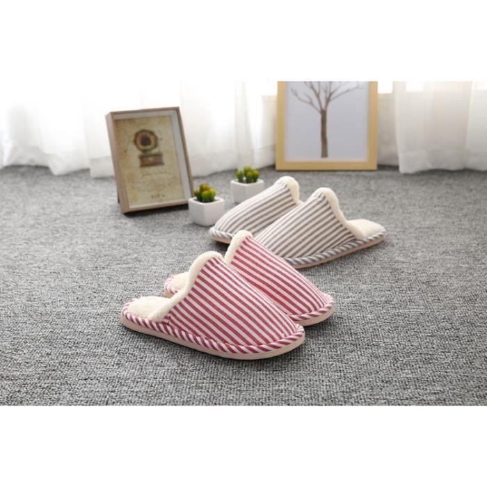Confort Peluche Chaussons Anti-Derapant pantoufles Hiver Intérieure Chaud Coton Pantoufles pour hommes et femmes