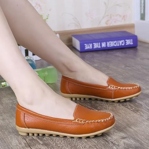 Chaussures Femme en cuir véritable Femmes Chaussures Plates Mocassins Enfilez Chaussures plates de la femme Mocassins,blanc,35