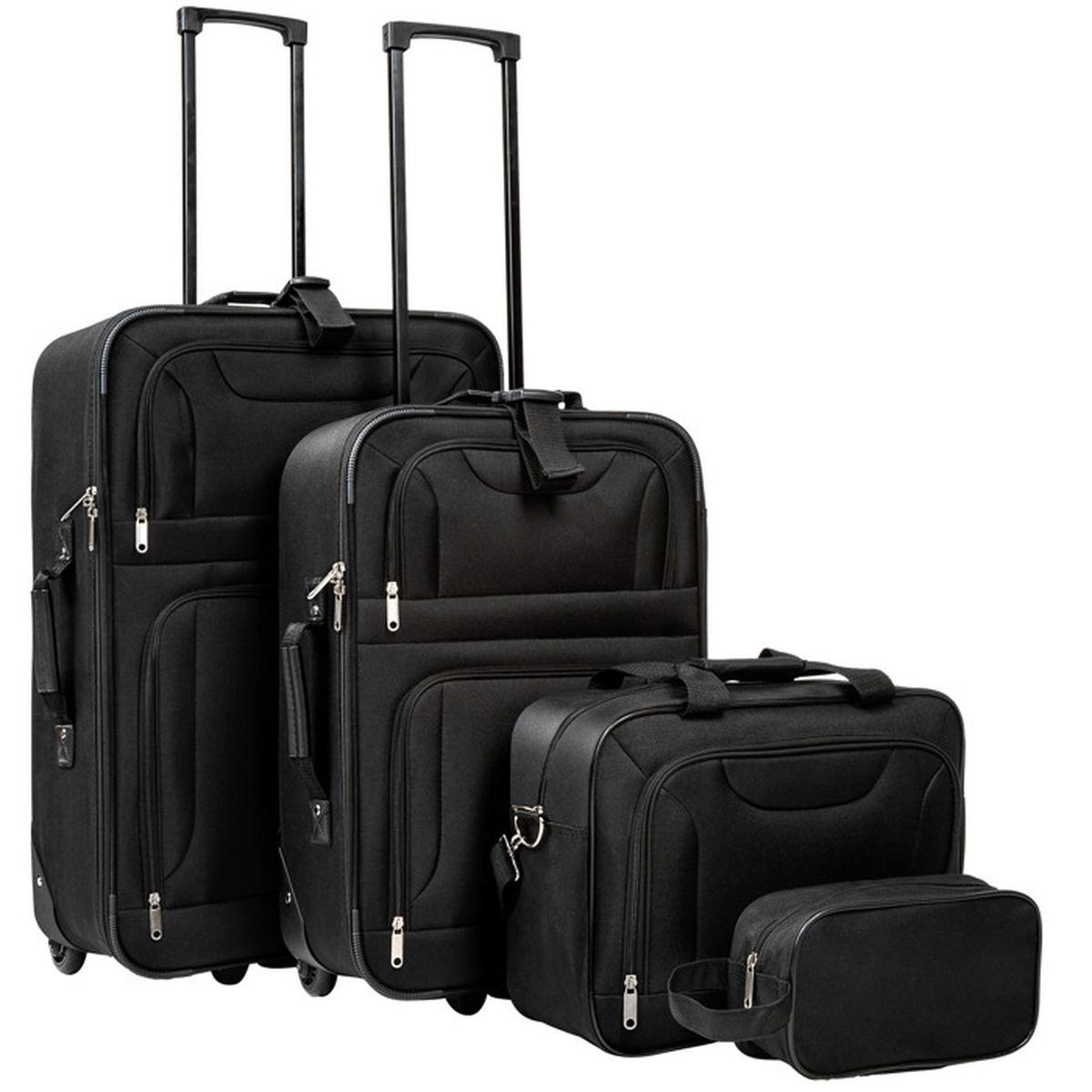 set de 4 valises avec 2 valises trolley 1 sac et 1 trousse noir tectake achat vente set de. Black Bedroom Furniture Sets. Home Design Ideas