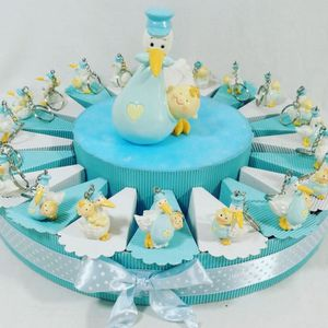 CONFETTIS Stork With Baby On Cake For Confetti Keyring With