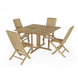 Salon jardin table carre et 4 chaise pliante - Achat / Vente ...