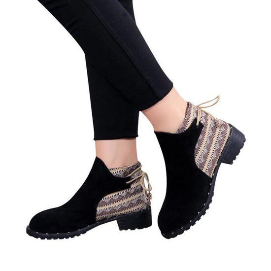 Femmes Flcok Bottes Wedges bas Zipper Moyen Bottes Tube Chaussures Casual Martin Bottes Noir Noir - Achat / Vente botte