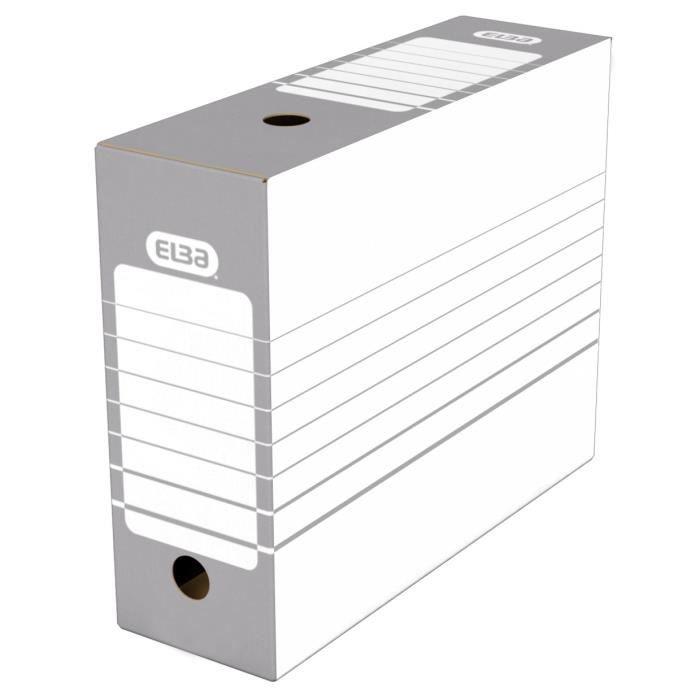 ELBA Lot de 20 Boîte d'archives - Automatique - 10 cm - Gris - 46,6 cm x 44 cm x 0,675 cmBOITE A ARCHIVE