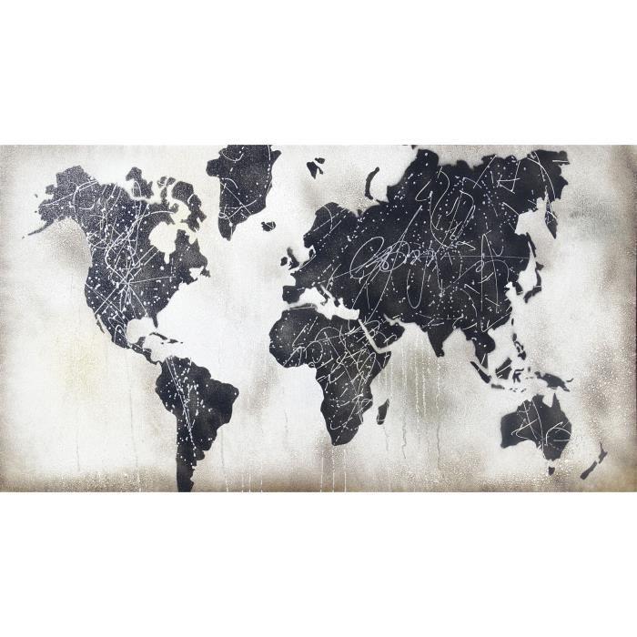 TABLEAU - TOILE Toile originale Mappe Monde - 60 x 110 cm - Bleu e