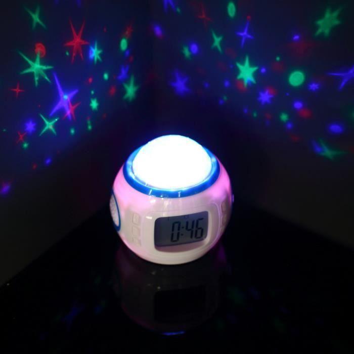 Romantique Musique Starry Star Sky Numérique Led Alarme Projection Projecteur Horloge Calendrier Thermomètre Despertador
