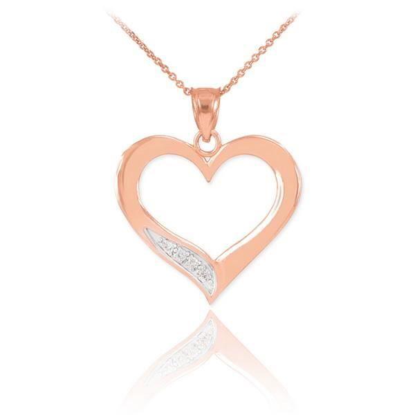 Pendentif 10 ct Rosependentif diamant Cœur 471/1000 Or