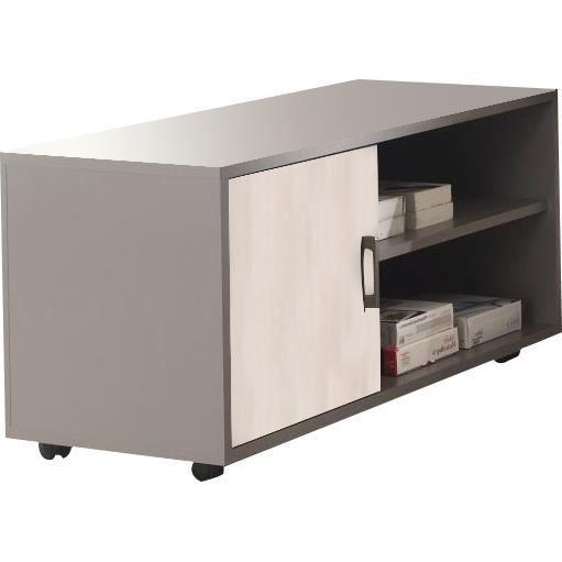 meuble pour bureau roulettes coloris gris et ch ne clair achat vente petit meuble. Black Bedroom Furniture Sets. Home Design Ideas