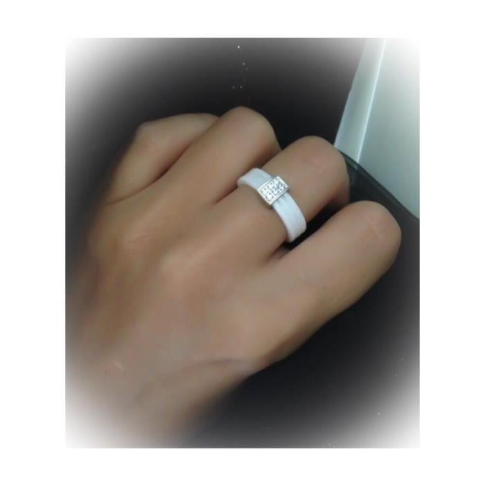 Bague céramique 3 anneaux- blanche - Zirconium- Neu