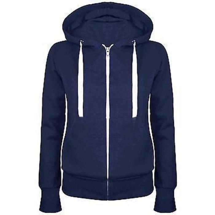 Femme Sweat-shirt Lâches Gros Pull En Coton Avec Capuche Veste ... 9e60dffd7871