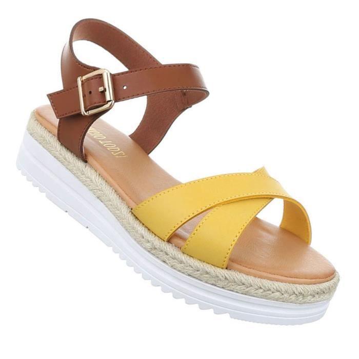 Femme sandales chaussures chaussures de plage chaussures d'été Strappy jaune 41