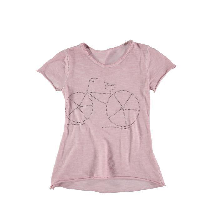 3c414e9e2dd2 Tee-shirt manches courtes vélo en punaises fille Rose pale - Achat ...
