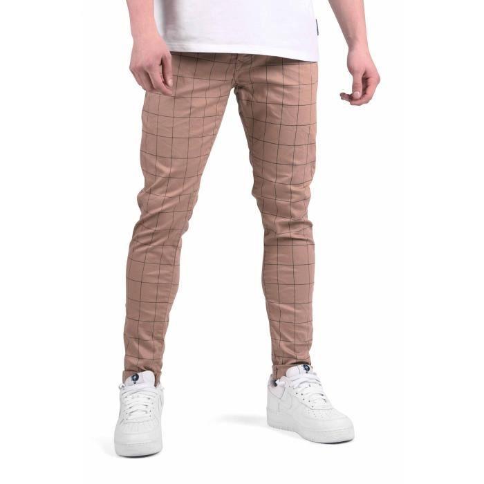 50f6bf22702 Pantalon ajusté à carreaux et fines rayures Homme Project X Paris (29 -  Beige)