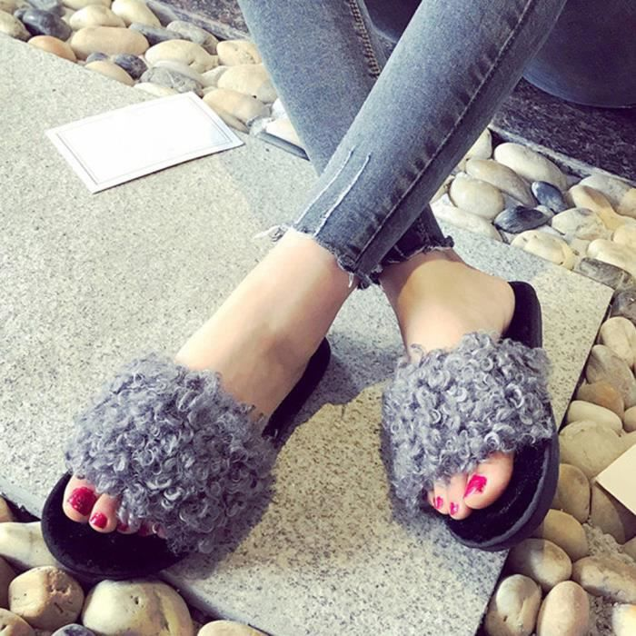 Flop Flat Chaussons Fluffy Sandales Rose love196 Sliders Slip On Fourrure Femme Beguinstore® Dames Flip Fausse zqfw8PW