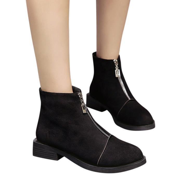 Wong5388 Chaussures Martain Bout Talon Couleur Carré En Solide À Femmes Daim Bottes Rond Zipper xpOawwtq
