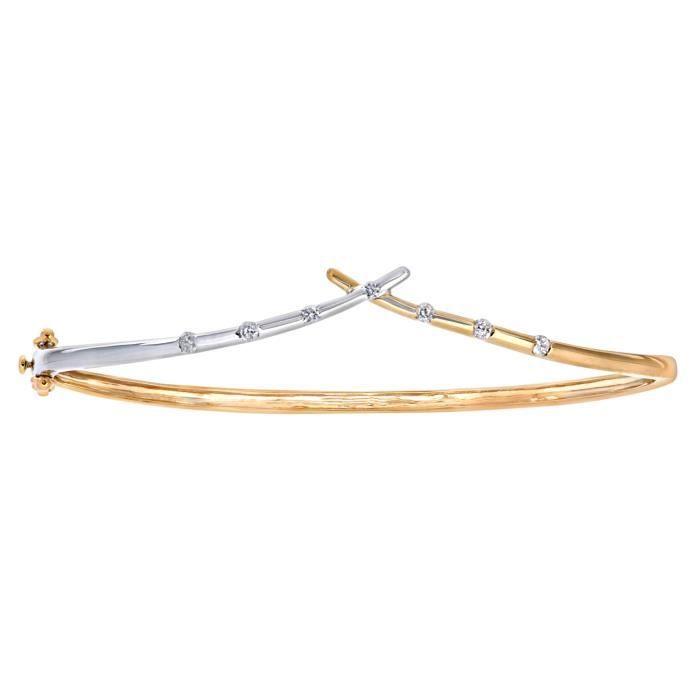 Revoni - Bracelet jonc en or jaune et blanc 9 carats et diamants, motif os du bonheur - REVCDPBC02053YW