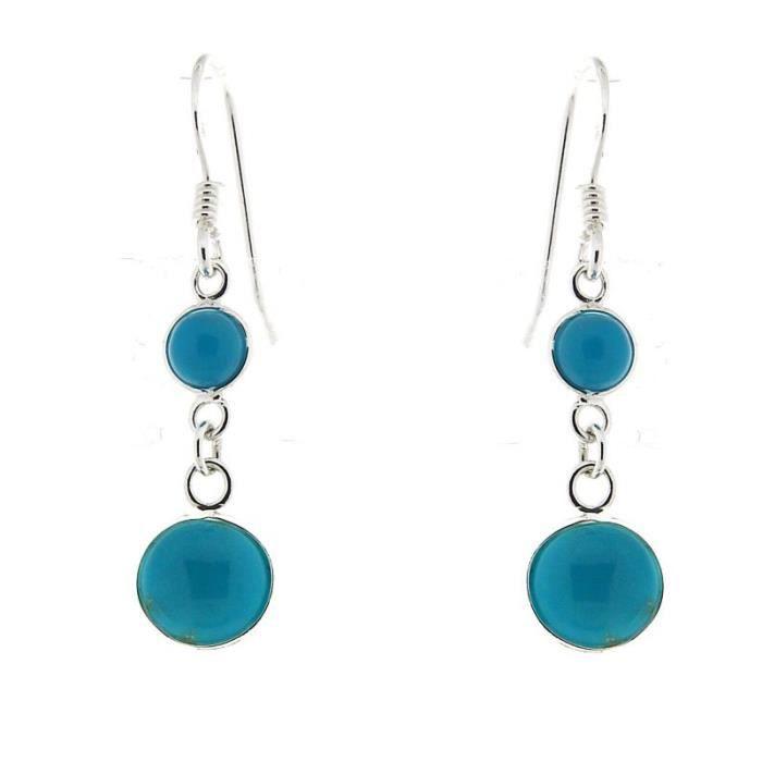 Boucles d oreilles Argent 925 Turquoise ref 42683