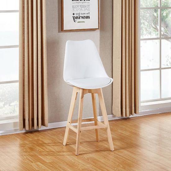 Lot de 2 chaises hautes blanches - Gotteborg - Achat   Vente tabouret -  Cdiscount 92c63b30b52e