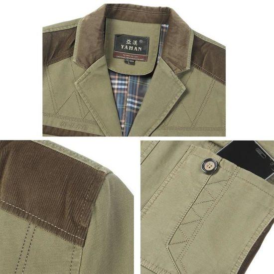 Couleur Épais Vêtement Sable Lavage Combat Coton Masculin Veste Homme fHgO14