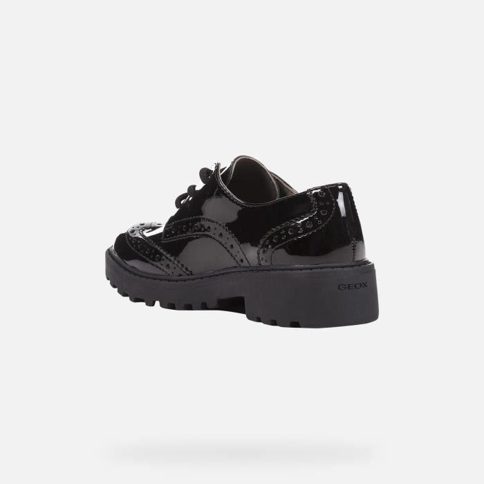 Geox J Casey G Filles en cuir verni Derbies - Derbies Noir