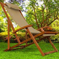 CHAISE LONGUE Chaise Camping Plage Pliante En Bois Tissu Assise