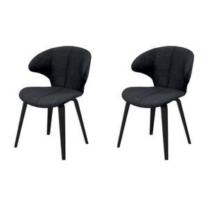 CHAISE SAXO Lot de 2 chaises de salle à manger grises ant