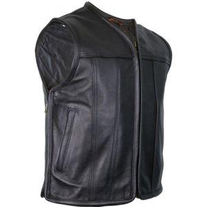 BLOUSON - VESTE Gilet Cuir Noir Homme Moto Vest Blouson