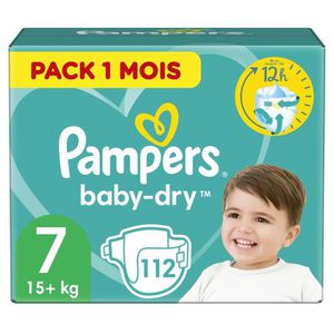 COUCHE Pampers Baby-Dry Taille 7, 112 Couches - Pack 1 Mo