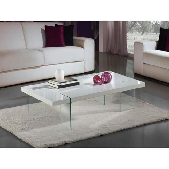 Table Basse Design Laque Blanc Et Verre Trempe Brisa Deco