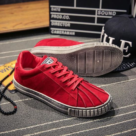 Sneakers Chaussures Hommes Coquilles Chaussures Casual Chaussures Sneakers De Toile Sneakers Rouge Rouge - Achat / Vente basket 55a5a2