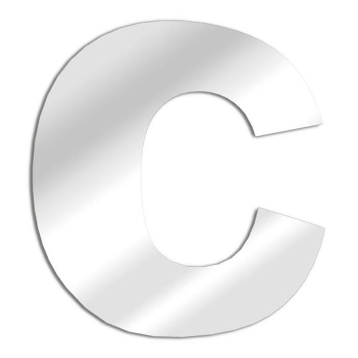 Arial lettre miroir c 13 cm en verre acrylique