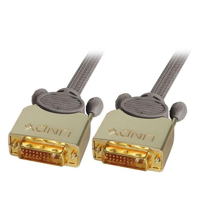 LINDY Câble DVI-D GOLD Dual Link, mâle/mâle - 1m