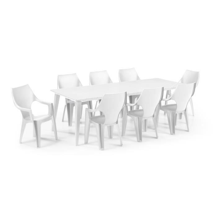Salon de jardin: Table 160/240 cm blanche + 8 Fauteuils blanc ...